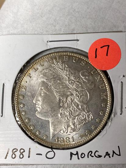 1881-O Morgan dollar, AU.
