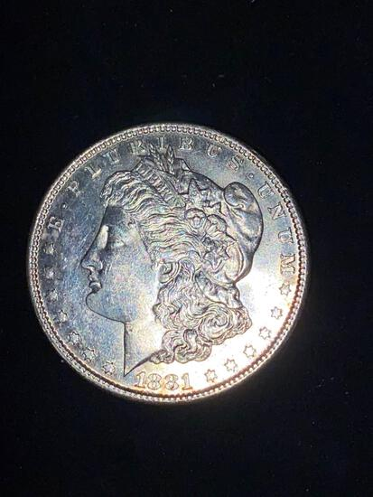 1881-S Morgan dollar, AU.