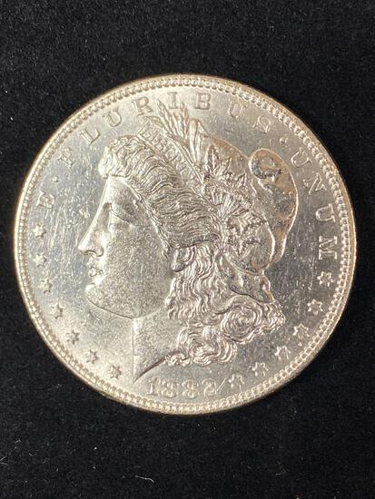 1882 Morgan dollar, AU.