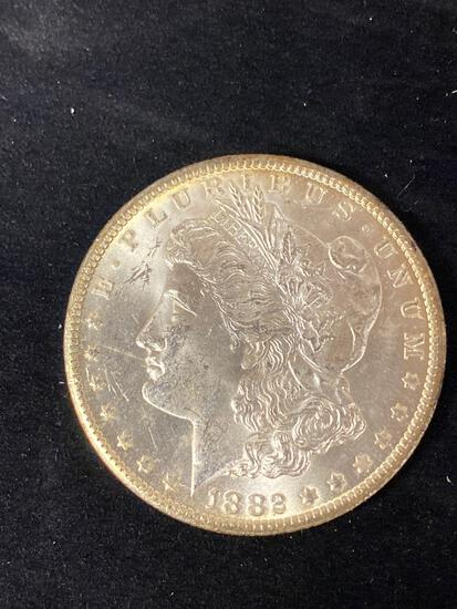 1882-CC Morgan dollar, AU.