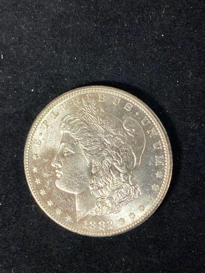 1882-S Morgan dollar, AU.