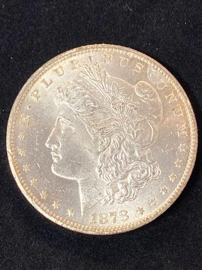 1878-CC Morgan dollar, AU.