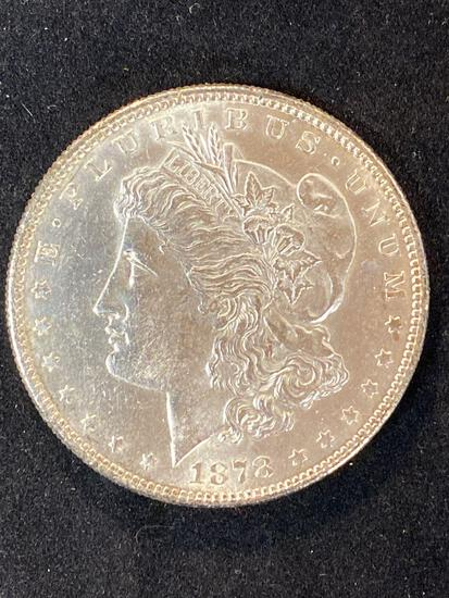 1878-S Morgan dollar, AU.