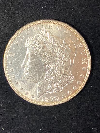 1879 Morgan dollar, AU.
