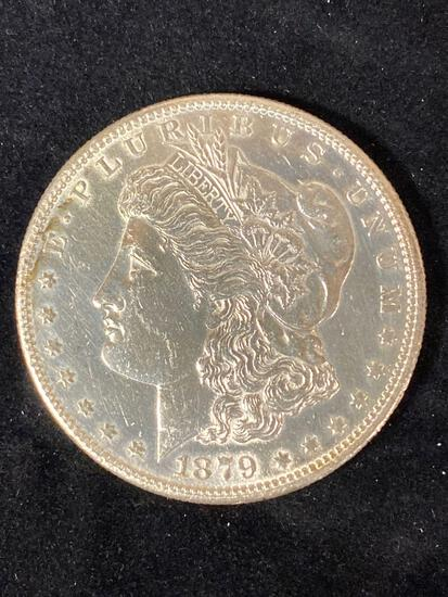 1879-S Morgan dollar, AU.