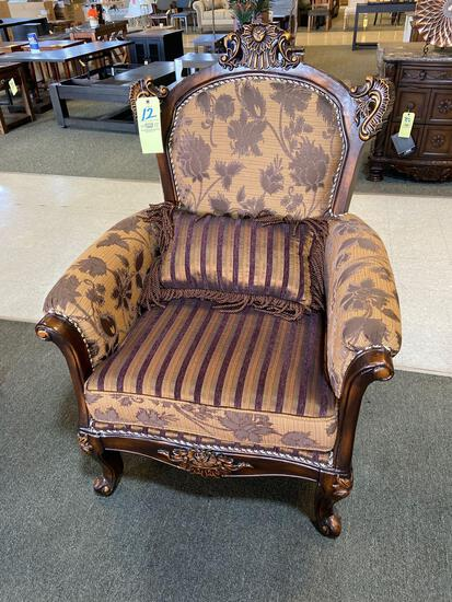 Floral Upholstered Wing Back Chair