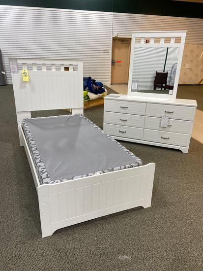 Signature Design by Ashley Twin Bed and Mirrored Dresser