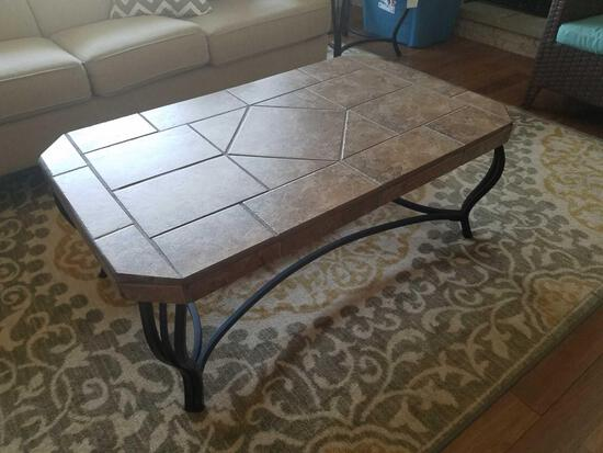 2 piece tile top end table set, end table and coffee table