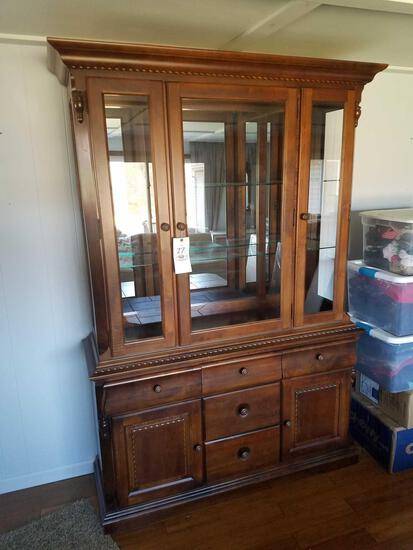 Broyhill lighted 2 piece hutch with silverware drawer