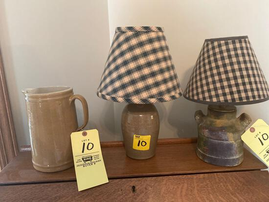 (2) pottery lamps, pitcher.