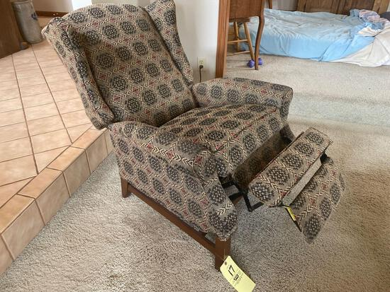 Upholstered recliner.