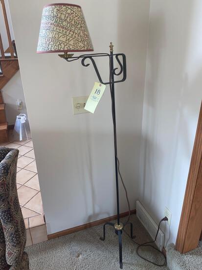 """Wrought iron style floor lamp, 63"""" tall."""