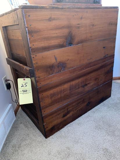 """Old pine lift top box w/ handles on sides, store type, 33.5"""" wide x 35"""" tall."""