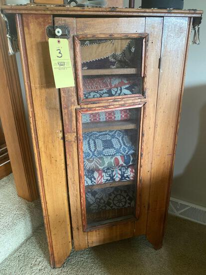 """Antique pie safe w/ screened doors, 28"""" wide x 48"""" tall."""