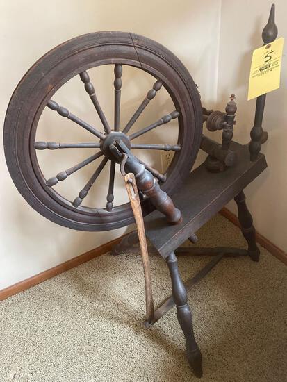 Old spinning wheel, 3' tall.