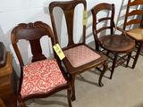3 early wooden chairs unmatched. Rose carved, claw feet