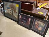 3 framed primitive prints