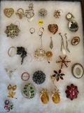 (29) pcs. costume jewelry w/ glass display tray.