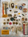 Lot of advertising items, tokens, etc.