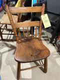 Plank bottom chair, dainty dark stained chair