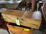 Early tool/saw box with hinged lid 33 inches long