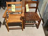 2 wood children's chairs