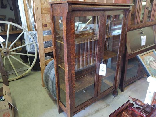 Mission Oak Style Two Door Curio Cabinet