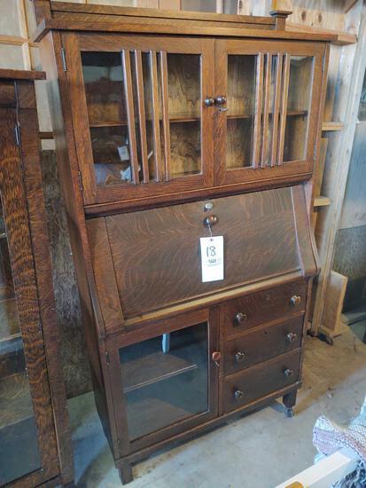 Mission Oak Style Slant Front Desk w/ Pigeon Holes and Lock & Key