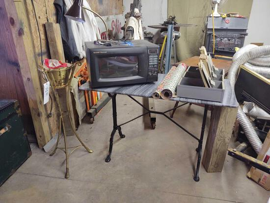 Cast leg Table w/ Sharp Microwave, Plant Stand , organizer files and Wrapping Paper