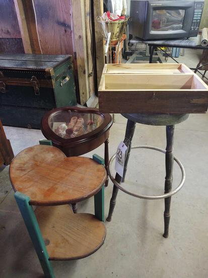 Stool , (2) Heart End Stands, wood box w/ patches