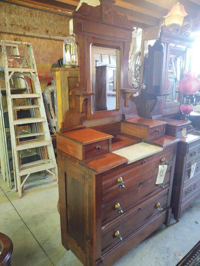 Antique Marble Top Dresser w/ Mirror