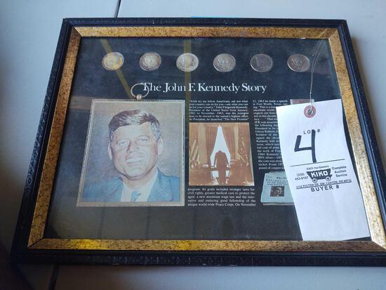 Framed John F. Kennedy Half Dollars