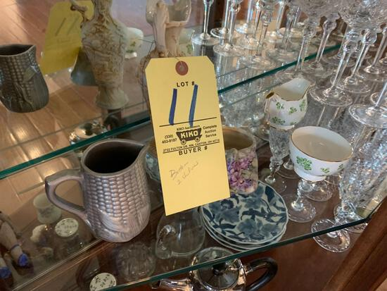 Contents of 2 shelves, crystal stemware, painted China and more