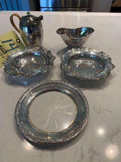 Sterling Silver items, small bowls, creamer, footed dish