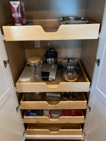 Contents of kitchen cupboards, cookware, dishes and more