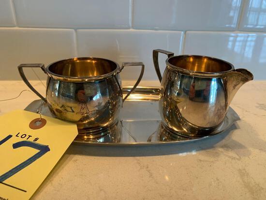 Sterling silver creamer and sugar set