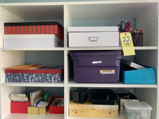Contents of organizer, office supplies, paper shredder