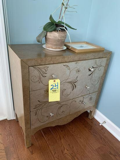 Gold finish 3 drawer chest