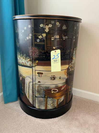 Curved front Pictorial lift top jewelry chest