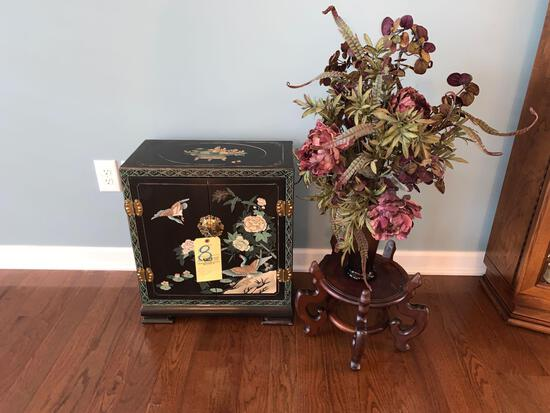 Oriental style side stand cabinet with plant stand and artificial plant
