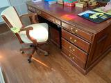 Harden large executive desk with leather inlay and chair on casters