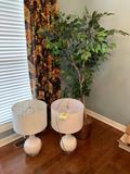 Artificial tree approximately 6 feet tall and two white rose lamps