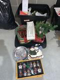 1 tote of Christmas decorations, glass bulbs, baskets, plates and more