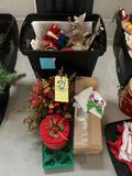 1 tote of Christmas decorations, nutcracker cookie jar, candle holders, molds and more