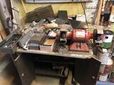 Valdor grinder, bench, contents, paints and supplies