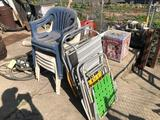 Stack chairs and lawn chairs