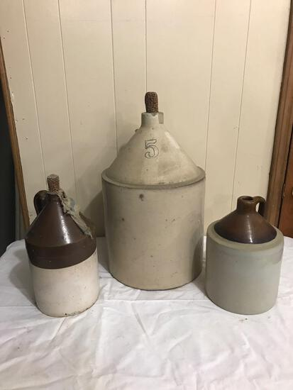 Three stoneware jugs