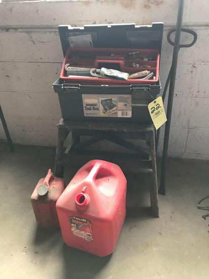 Toolbox with plumbing hardware - gas cans pinch bar