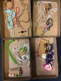 4 flats costume jewelry, earrings, etc