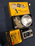 Vintage Kodak flash and brownie camera, projector and video converter